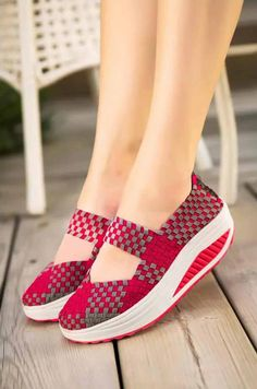 Rose red weave slip on rocker bottom shoe sneaker 1875 Trendy Shoes, Cute Shoes, Casual Shoes, Sparkly Socks, Shape Up Shoes, Killer Heels, Leather Booties, Girls Shoes, Designer Shoes