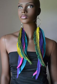 Very Long Colorful Feather Earrings by MarcieRoxx on Etsy, $32.00