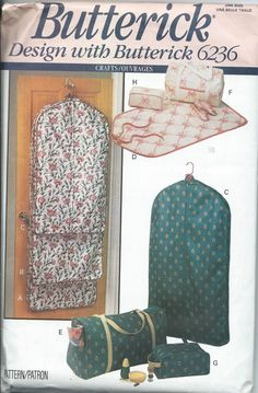 Butterick 6236 Garment Bags, Totes and Accessory Cases Toiletry Cases Sewing Pattern UNCUT by DawnsDesignBoutique on Etsy Bag Pattern Free, Tote Pattern, Bag Patterns To Sew, Vintage Sewing Patterns, Sewing Crafts, Sewing Projects, Sewing Ideas, Garment Bags, Travel Accessories