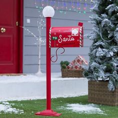 Diy Christmas Village, Outside Christmas Decorations, Christmas Yard, Christmas Projects, Christmas Photos, Holiday Decor, Merry Xmas, Santa Ornaments, Mailbox Post