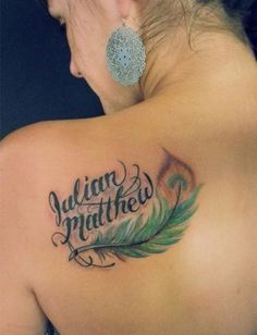 Feather With Names tattoo