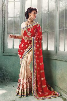 Radiant Red And Off-White Designer Saree - New Arrivals