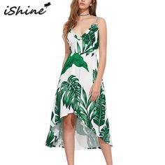 522f869ef6 iShine 2017 Summer Palm Leaf Print Beach Dress Women Green V neck backless  spaghetti strap irregular