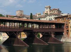 The Brenta river and wooden bridge of Bassano del Grappa , architect Andrea Palladio 1569 ,Italy