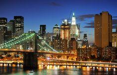 Nova Iorque, nyc, EUA, Nova Iorque, brooklyn bridge, ponte do brooklyn, arranha-céus, luzes da noite Vetor