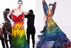 Dress handmade of 50,000 gummy bears (left) and inspired by this Alexander McQueen dress (right)....wow!