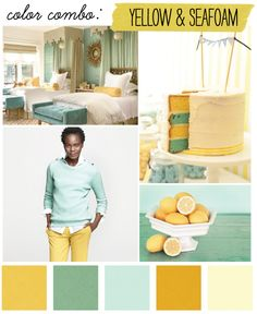 color swatches. yellow + seafoam