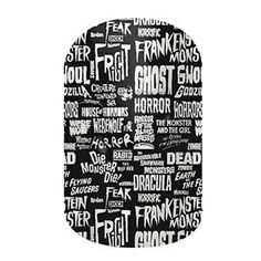 Halloween Words Buy 3 sheets of nail wraps and receive FREE! Contact me for a free sample. Love Nails, How To Do Nails, Pretty Nails, Fun Nails, Halloween Words, Halloween Nail Art, Creepy Halloween, Jamberry Nails Consultant, Jamberry Nail Wraps