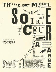 "Ilia Zdanevich, poster for Tristan Tzara  ""Soirée du coeur à barbe"""