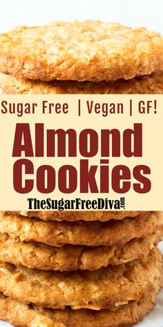 This delicious recipe for the Easiest Ever Almond Cookie is sugar free, low in carbohydrates, gluten free and vegan as well. Keto Cookies, Almond Meal Cookies, Sugar Free Cookies, Ginger Cookies, Sugar Free Vegan Desserts, Sugar Free Deserts, Sugar Free Recipes, Sugar Free Meals, Vegan Sugar Cookie Recipe