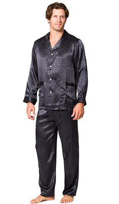 Men's classic style printed silk belgravia tailored pajamas honors the infinite style in a discrete print celebrating the grand tradition of the London tailoring excellence! Matching silk robe also available. In Black or Navy print. Mens Sleepwear, Men's Loungewear, Satin Pajamas, Boys Pajamas, Pajama Bottoms, Cosplay Costumes, Pajama Set, Lounge Wear, Printed Silk