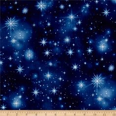 Timeless Treasures Nativity Twinkling Stars Night from @fabricdotcom  Designed by Dona Gelsinger for Timeless Treasures, this cotton print fabric features a sky full of twinkling stars with the North Star shining extra bright. Perfect for quilting, apparel and home decor accents. Colors include white, cream and shades of blue.