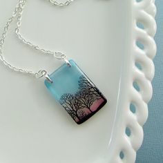Petite Dusk necklace resin necklace trees by underglass on Etsy, $26.00