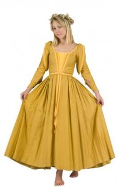 yellow gown.. possible the color she wore to the orchard.