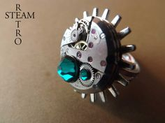 Steampunk Rings  Emerald Steampunk Watch ring  by SteamRetro, €23.99