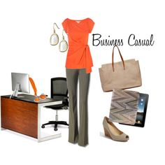 Women's business casual (via Wardrobe 911)...love the idea.  Maybe not so much the orange though