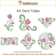 Art Deco Tulips Flower Floral Heirloom Quilt Machine Embroidery Designs Instant Download 4x4 5x5 6x6 hoop 10 designs APE1758