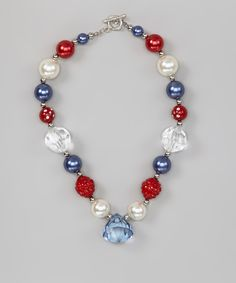 Red & Blue Fourth of July Bead Gem Necklace