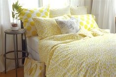Bedroom Color Ideas, Gray and Yellow - Yellow Bed Sets