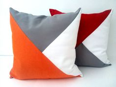 Throw Pillow, Geometric Modern Home Accent, Orange, White and Grey Decor by CushionsandMore on Etsy