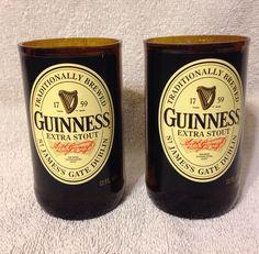 Guinness Beer Bottle Tumbler Drinking Glasses. Man Cave. Recycled Glassware. by RandomCraftsBySundee on Etsy https://www.etsy.com/listing/181722385/guinness-beer-bottle-tumbler-drinking