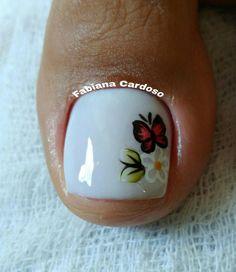 Cute Pedicures, Pedicure Nails, Manicure, Painted Toe Nails, Toenail Art Designs, Pretty Toe Nails, Almond Nails Designs, Nail Art Videos, Flower Nails