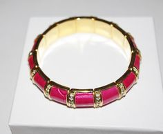 Joan Rivers Magenta Leather and Crystal Stretch by SCLadyDiJewelry