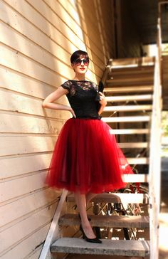 Deep red burgundy oxblood tulle skirt tutu by HiddenRoom