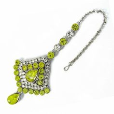 Silver Tone Lemon Yellow CZ Maang Tikka Hair Accessory Ethnic Indian Jewelry Fashion Jewelry, Hair Accessories, Pendant Necklace, Personalized Items, How To Make, Beautiful, Women, Trendy Fashion Jewelry, Hair Accessory