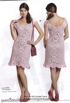 Crochet.es.un.arte!: Crochet - Vestido con Rosetas,Vestido para niña y Remera punto piña