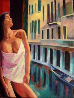 Mujer semi desnuda y ventana - Gabriel Gonzalo