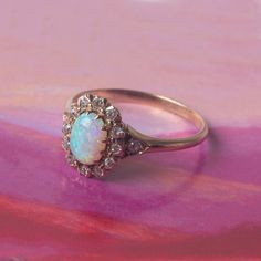 Victorian Era Opal Ring with Old Mine Cut Diamond Halo | Avondale from Trumpet