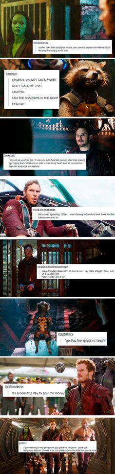 Guardians of the Galaxy spoilers. If the Guardians were on Tumblr... The intimate thoughts of Gamora, Rocket Raccoon, Peter Quill (Codename: Star-Lord), and their crew.