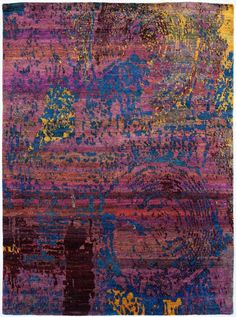 A harmonious fusion of tradition and innovation, this silk rug from the Ethos collection features an abstract design in sprays of technicolor. Hand-knotted in India from vintage sari silk