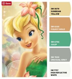 DId you know that on this day in Peter Pan was released by Disney! Which of Tinkerbell's colors makes you dream of Neverland? We are loving Julep! Colour Pallette, Colour Schemes, Color Combos, Ariel Color, Disney Princess Room, Debut Themes, Colours That Go Together, Disney Bedrooms, Fairy Coloring