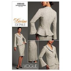 Vogue Patterns V8543 Misses' Jacket and Skirt, Size AA (6-8-10-12) pour la veste