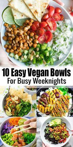 Vegan Bowl Recipes, Vegan Dinner Recipes, Delicious Vegan Recipes, Vegan Dinners, Whole Food Recipes, Veggie Recipes, Vegetarian Recipes, Healthy Recipes, Easy Vegetarian Lunch