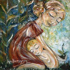 mother and child garden red dress blonde art print  by kmberggren, $29.00