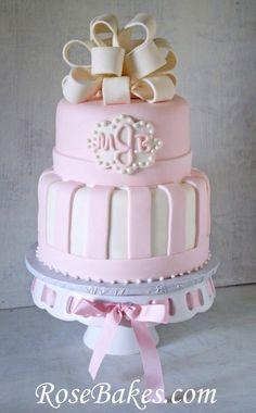 I like the shape of this cake - Pink Baby Shower Cake with Elegant Monogram, Bow, & Stripes Baby Shower Elegante, Elegant Baby Shower, Cupcakes, Cupcake Cakes, Fondant Cakes, Girly Cakes, White Baby Showers, Shower Bebe, Girl Shower