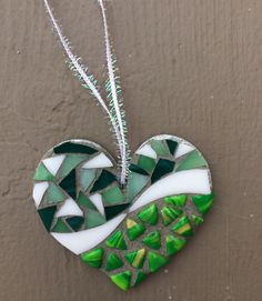 Green glass heart mosaic ornament - Glass Needle Works