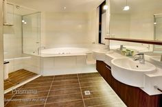 Modern finishes in bathroom design: Walls, counters and flooring