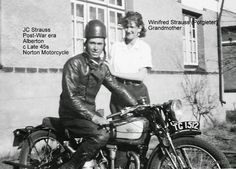 NORTON MOTORCYCLE Jacobus Christoffel Strauss (father JHP Strauss) Post-War era Alberton c late 1945s with his wife Winifred Strauss (Potgieter)