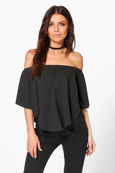 Zoe Double Layer Curver Hem Bardot at boohoo.com