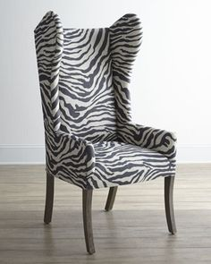 Kayla Zebra-Print Wingback Chair at Neiman Marcus.