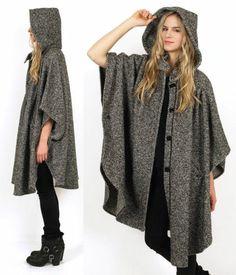 Vtg 80s Tweed HOODED Draped Avant Garde Wool Oversized CAPE Jacket Coat - Mama Stone Vintage