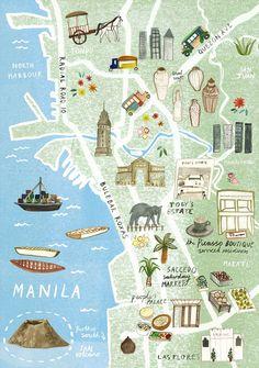 illustrated map of Manila for Virgin Australia - Livi Gosling