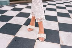 Gal Meets Glam wears Tory Burch embellished sandals in Charleston, SC
