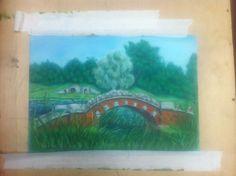 пастель. пейзаж, мост Art Painting Gallery