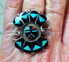 STERLING SILVER LARGE ZUNI TURQUOISE ONYX INLAY RING