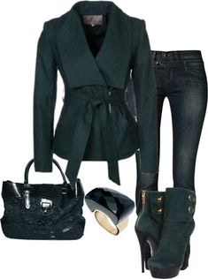 A fashion look from December 2012 featuring blue blazer jacket, skinny fit denim jeans and stacked heel bootie. Browse and shop related looks. Cute Fashion, Look Fashion, Fashion Outfits, Womens Fashion, Fashion Trends, Fashion Night, Winter Stil, Everyday Fashion, Passion For Fashion